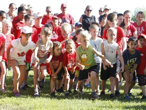 Youngsters get set for the mass start of the 1-km event at the 2019 Canada Day Runs in Brockville. A special 2020 at-home version of the annual runs for people of all ages will take place on Wednesday, with proceeds going to the Brockville and Area Food Bank. File photo/The Recorder and Times