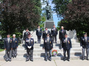 Legion members and MPP Jim McDonell at the conclusion of the 76th anniversary of D-Day ceremony in Cornwall, on Saturday morning. Photo  on Saturday, June 6, 2020, in Cornwall, Ont. Todd Hambleton/Cornwall Standard-Freeholder/Postmedia Network