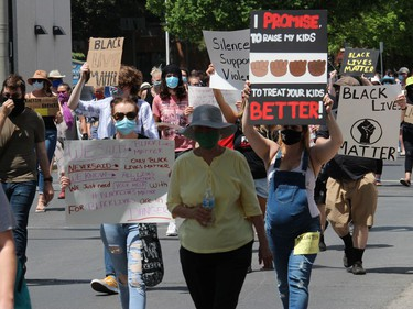 The protest underway just south of city hall. Photo on Saturday, June 6, 2020, in Cornwall, Ont. Todd Hambleton/Cornwall Standard-Freeholder/Postmedia Network