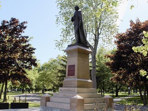The statue of Sir John A. Macdonald in City Park. (Matt Scace/For The Whig-Standard)