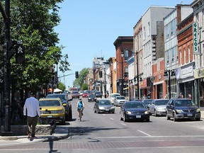 The south lane of Princess Street, left, will be closed while the north lane will remain open as part of the Love Kingston Marketplace downtown revitalization initiative beginning next week. (Matt Scace/For The Whig-Standard)