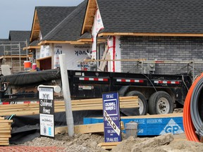 (Paul Morden/The Observer)  New homes are going up on Gianluca Avenue in Sarnia. The real estate market in Sarnia-Lambton is bouncing back after a slowdown because of COVID-19 restrictions.