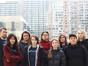 Beze Gray (front right) is one in a group of seven young people arguing provincial emissions-target reductions in 2018 violate the Canadian Charter of Rights and Freedoms. They're pushing for a day in court after the provincial government in April moved the group's case should be thrown out. Submitted