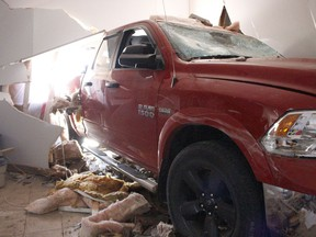 The office of LEA Consulting was destroyed when a truck crashed through a brick wall on the east portion of the Porcupine Mall. Nobody was in the office at the time. The motorist and his passenger were treated for minor injuries.  RICHA BHOSALE/The Daily Press