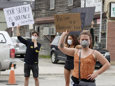 Even the COVID-19 pandemic couldn't stop protesters from coming out to stand up against the systemic racism in Timmins Friday.   RICHA BHOSALE/The Daily Press