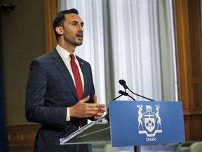 Ontario Minister of Education Stephen Lecce speaks at a daily briefing held at Queen's Park in Toronto.