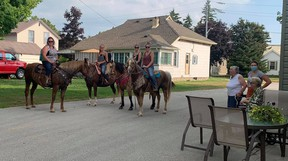 Four girls on horseback came to visit the residents at Sepoy Manor Retirement Home in Lucknow on Thursday, July 9. While infection prevention protocols were followed, the residents enjoyed the nice surprise. L-R: Rachel Bennett, Braidyn Ovecka, Tori Cutting and Brianne Toper.