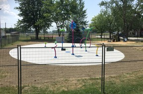 The Dresden Kinsmen Community Splash Pad has been completed, but local kids won't get to enjoy it just yet as Chatham-Kent's splash pads are still closed because of COVD-19 restrictions. Courier Press photo