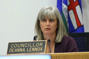 Councillor Deanna Lennox called for the preparation of a business case budget request for additional intergovernmental support at the July 7 city council meeting. Photo by JAMES BONNELL / The Record