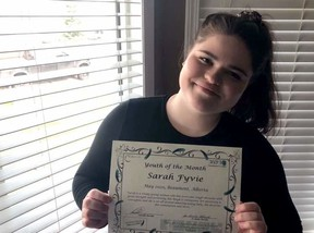 Sarah Fyvie was named the Youth of the Month winner for May 2020.