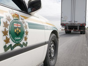 Following a traffic enforcement blitz in Chatham-Kent by two agencies, most of the commercial motor vehicles inspected have been taken out of service. File photo/Postmedia Network
