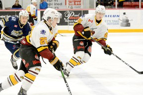 Former Timmins Rock forwards Phil Caron, left, and Stewart Parnell will be playing in Europe when the puck drops on the 2020-21 campaign. Caron, who still has a year of Junior 'A' eligibility left, will be joining Hällefors IK, of the Swedish Second Division, while Parnell will suit up with TuS Harsefeld, of the German Fourth Division. THOMAS PERRY/THE DAILY PRESS/POSTMEDIA NETWORK