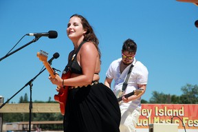 Brooklyn Doran performs alongside Cole Zabloski at the 12th 'Modified Maybe Annual' Coney Island Music Festival in July 2020.