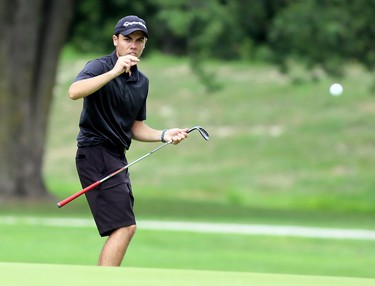 Brendan Davidson uses some body language as he watches his chip onto the 18th green at Maple City Country Club during a Jamieson Junior Golf Tour event in Chatham, Ont., on Monday, July 27, 2020. Mark Malone/Chatham Daily News/Postmedia Network