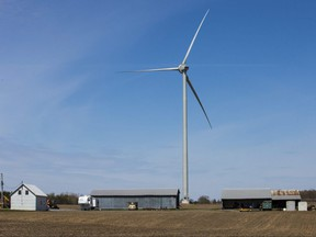 One of the Nation Rise Wind Farm's turbines, seen when the project's construction was halted, on May 14, 2020.