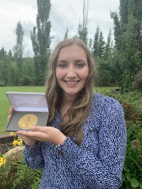 Victoria Wright was one of 14 young leaders from across the province that received the Queen Elizabeth II Golden Jubilee Medal. Photo Supplied
