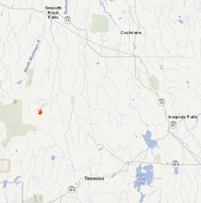 Seen here is a screenshot of the MNRF's forest fire interactive map showing where the blaze is in relation to Timmins.