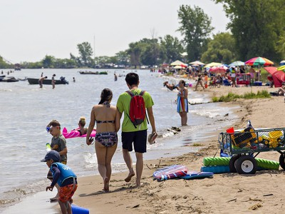 The beach at the west end of Turkey Point, with no public parking and used primarily by cottage owners, was less crowded compared to the main public beach on Saturday July 4, 2020. Thousands flocked to beaches along the Lake Erie shoreline in Norfolk County under sunny skies and warm temperatures.  Much of the beach has disappeared in the area due to high water levels, and other area beaches remain closed compounding concern about over-crowding. Brian Thompson/Brantford Expositor/Postmedia Network