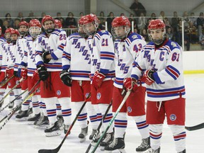 The South Grenville Jr. C Rangers line up for their 2019-2020 home-opener last September. The NCJHL is 'hoping' to start the new season on Dec. 1. File photo