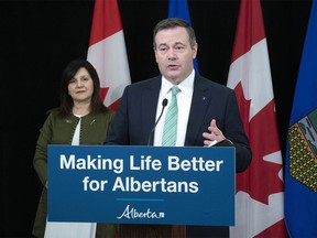 Premier Jason Kenney and Alberta's Minister of Education Adriana LaGrange during a news conference from Edmonton on Thursday, May 28, 2020.