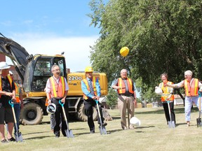The sod was turned to kick off the construction of a helipad at the Melfort hospital on July 29. Pictured, left to right, are: Bart Bessey, Fundraising Chairman Rod Gantefoer, Mayor Rick Lang, Lionel Lavoie, Melani Blandon and NCHCF Chairperson Peggy George. Not visible in the photo are MLA Todd Goudy and Brent Lutz, City of Melfort. Photo Susan McNeil.