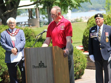Minister of Natural Resources and Forestry, MPP John Yakabuski addresses the small group that gathered for a remembrance ceremony on Canada Day. Looking on are Pembroke Mayor Mike LeMay and Legion Branch 72 President Stan Halliday. Anthony Dixon