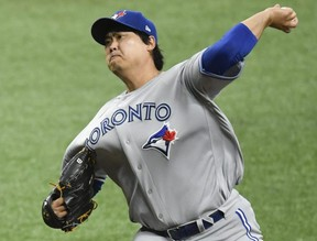 Jays pitcher Hyun-Jin Ryu throws against the Tampa Bay Rays on opening day at Tropicana Field last night.Getty images