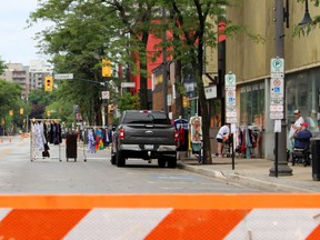 Christina Street North between Wellington and George streets was closed to cars and trucks with barriers to create a pedestrian-friendly zone on Sunday July 19, 2020 in Sarnia, Ont. Terry Bridge/Sarnia Observer/Postmedia Network