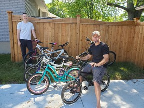 Fraser Moore, left, and Ryan Leblanc are behind the Pedals for Purpose initiative, giving bicycles to youngers in Sarnia who otherwise couldn't afford them. (Submitted)