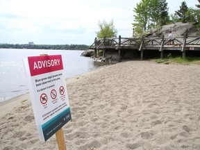 Public Health Sudbury and Districts has posted signs advising the public to avoid swimming, drinking the water, and allowing pets in the water at the beach near the amphitheatre at Bell Park in Sudbury, Ont. The health unit and the Ministry of the Environment, Conservation and Parks are currently investigating a possible blue-green algal bloom at the amphitheatre and a number of other beaches at Ramsey Lake.