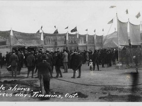 Sparks brought the circus to the Porcupine in June 1915. Crowds gathered to enjoy the exotic animals and the sideshows.  Supplied/Timmins Museum