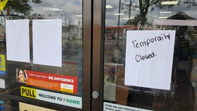 The Chatham 7-Eleven store, located at the corner of Grand Avenue West and St. Clair Street, is temporarily closed due to an employee with a confirmed case of COVID-19. Here, the store is shown Monday afternoon. (Trevor Terfloth/The Daily News)