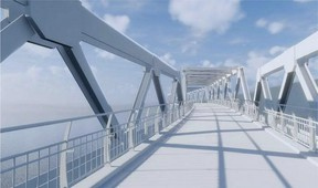An artist's rendering of what the new northeast Quarry Ridge-Strathcona County pedestrian footbridge could look like. At the July 21 council meeting, Strathcona County council voted 8-0 in favour of approving $395,000 to create a concept plan, engagement, and preliminary design. Edmonton has also pledge money behind the build. The River Valley Alliance, with the help of federal and provincial grants, will cover two-thirds of the estimated $25 million price tag. Photo courtesy River Valley Alliance