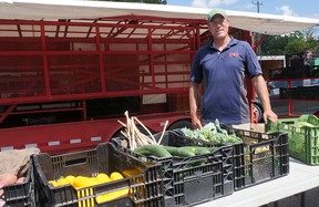 Gregory Boyd of Heritage Lane Produce says the Tillsonburg Farmers Market is having a good season. There have been some minor COVID-19 changes in protocol, but people have quickly adapted. (Chris Abbott/Norfolk Tillsonburg News)