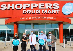 Fort Saskatchewan Mayor Gale Katchur and the Fort Saskatchewan and District Chamber of Commerce distributed relaunch kits to several local businesses, including Westpark Shoppers Drug Mart, Benjamin Moore Paint, the Fort Saskatchewan Food Bank, and Fort Gas Land. Photo Supplied by Gale Katchur / Facebook.
