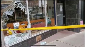 Two people smashed a window to gain access to the Once A Pawn A Time store in downtown Simcoe on Sunday morning. The store owner confronted the duo and chased them from the store. Norfolk OPP photo