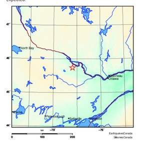 This graphic supplied by Natural Resources Canada pinpoints the epicentre of the magnitude 2.9 earthquake that rattled the Pembroke region Sunday night.