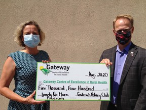 Rotary Club president Mike Strickland presented a cheque for $5,430 to Nancy Simpson, secretary of the board of directors of Gateway Centre of Excellence in Rural Health. Handout