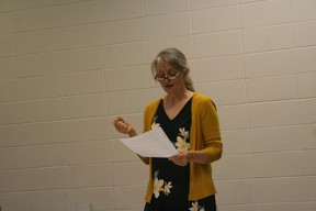 Advocate for a CT scanner and Fairview resident, Kim Ruether seeks support from Rotary Club of Fairview on Aug. 7 and presents letter that she had  addressed to Alberta Health Services.