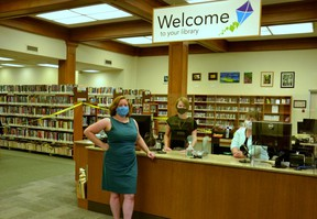 A myriad of health and safety measures are in place at the Stratford Public Library as staff prepare to re-open the library's collection by appointment beginning this Tuesday. Pictured from left are library CEO Julia Merritt, systems librarian Krista Robinson, and public service librarian Heather Lister. (Galen Simmons/The Beacon Herald)