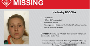 Brant OPP have issued an alert for Kimberley Bogema after items belonging to her were found on a county trail.