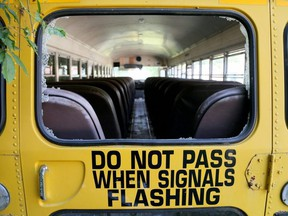 The back window on this school bus was smashed recently at the Chatham-Kent Children's Safety Village near Blenheim, Ont. Photo taken Monday, Aug. 10, 2020. Mark Malone/Chatham Daily News/Postmedia Network