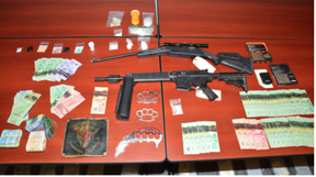 Brockville police released this image of items seized in a joint-forces drug bust carried out on Tuesday. (SUBMITTED PHOTO)