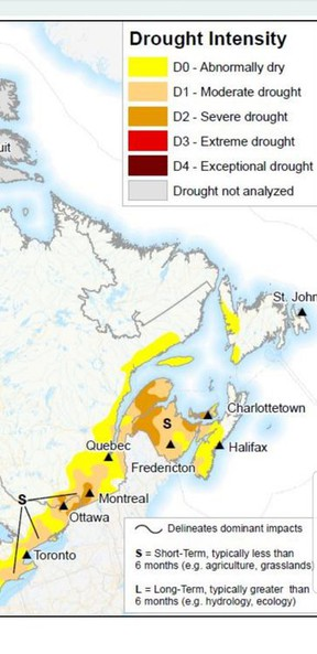 """A map from Agriculture and Agri-Food Canada's Canadian Drought Monitor, released July 31, shows Hastings and Prince Edward region are in the grip of a """"moderate drought"""" which is affecting area farmers' crops. The map also indicates the drought is short term or less than six months. AGRICULTURE AND AGRI-FOOD CANADA"""
