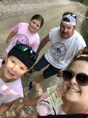 In this family photo, Laci Freiburger and Ben Freiburger (back), along with Del Freiburger and Jenna Redford-Freiburger, take part in this year's Gutsy Walk, which was held virtually due to the COVID-19 pandemic. Crohn's and Colitis Canada hosted the 25th anniversary of the Gutsy Walk on Aug. 23 to raise funds for research into the cures for Crohn's disease and ulcerative colitis. Donations are still open until Sept. 14. Visit gutsywalk.ca for more information.