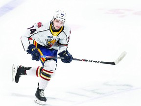 Nick Porco, in Ontario Hockey League action with the Barrie Colts. The Sault Ste. Marie product is looking ahead to a big 2020-2021 season with Barrie after joining the Colts in a trade with the Saginaw Spirit during the 2019-2020 campaign. GETTY IMAGES