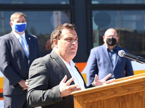 Nickel Belt MP Marc Serre makes a point at a joint federal, provincial and municipal funding announcement for public transit projects in Sudbury, Ont. on Thursday August 6, 2020.