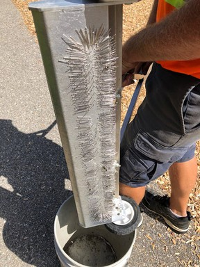 An employee of the city of Woodstock shows sewing needles and thumb tacks found Aug. 19 near playground equipment at Southside Park. (SUBMITTED PHOTO)