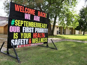 A sign welcomes back students at Georges P. Vanier Catholic School in Chatham, Ont., on Wednesday, Sept. 2, 2020. Mark Malone/Chatham Daily News/Postmedia Network
