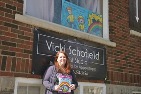In time for the beginning of the new school year, Stratford author, illustrator and publisher Vicki Schofield released the fifth book in her Ben and Marty children's series, Ben and Marty: Anti-Virus Heroes. (Galen Simmons/The Beacon Herald)